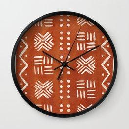 Mud Cloth Pattern - Rust Wall Clock