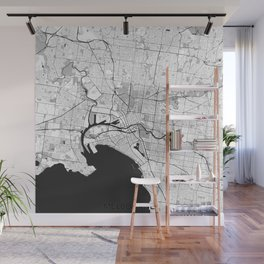 Melbourne City Map Gray Wall Mural