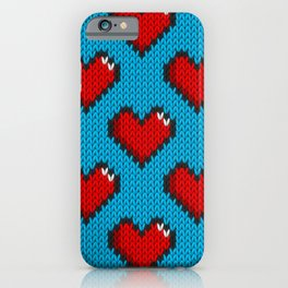 Knitted heart pattern - blue iPhone Case