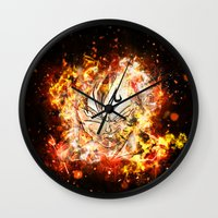 dbz Wall Clocks featuring Goku Vegeta DBZ Face by K2idesign