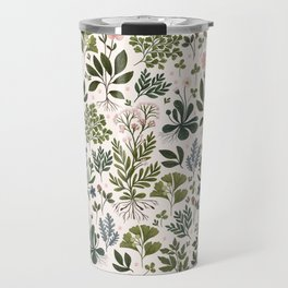 Herbarium ~ vintage inspired botanical art print ~ white Travel Mug