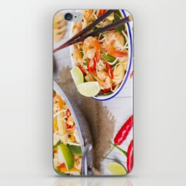 I - Healthy shrimp and vegetables stir-fry in a bowl, brightly lit iPhone Skin