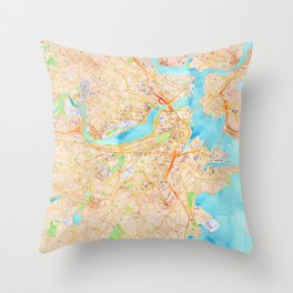 Boston watercolor map XL version Throw Pillow