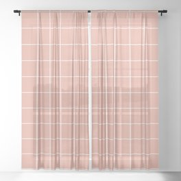 Grid Pattern Coral Pink White EAAC9D Stripe Line Minimal Stripes Lines Spring Summer Sheer Curtain