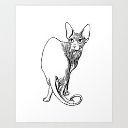 Sphynx Cat Illustration - Sphynx - Cat Drawing - Naked Cat - Wrinkly Cat - Black and White Art Print