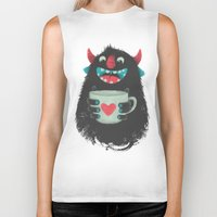 coffee Biker Tanks featuring Demon with a cup of coffee by Lime