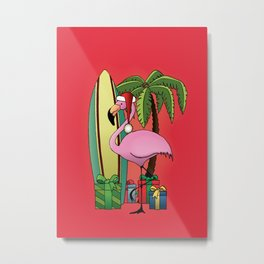 Xmas Flamingo Metal Print