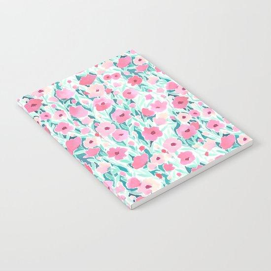 Flower Field Pink Mint Notebook