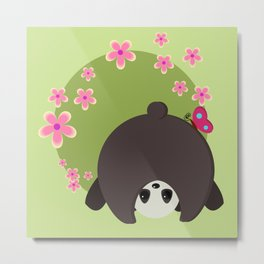 Cute Panda Pink Flowers Normal is Boring Metal Print