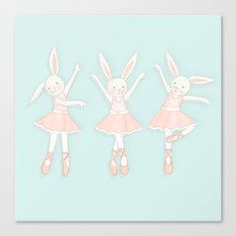 Ballerina bunnies minty blue Canvas Print