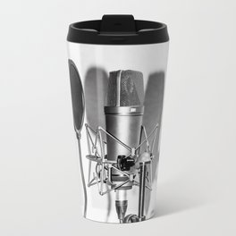 Microphone black and white Metal Travel Mug