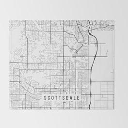 Scottsdale Map, Arizona USA - Black & White Portrait Throw Blanket