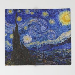 The Starry Night by Vincent van Gogh (1889) Throw Blanket