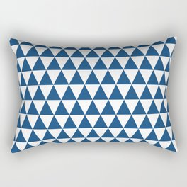 Monaco Blue and White Triangle Pattern Rectangular Pillow