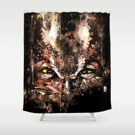 great horned owl bird close up wscb Shower Curtain
