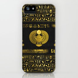 Golden Egyptian Scarab Ornament  on black leather iPhone Case