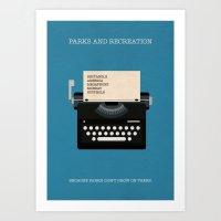 Parks And Recreation Minimalist Poster - Typewriter Art Print