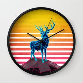 Neon Retro Synthwave Deer Wall Clock