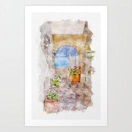 Aquarelle sketch art. View of Santorini island, cyclades, sky and sea Art Print