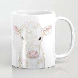 Baby White Cow Calf Watercolor Farm Animal Coffee Mug