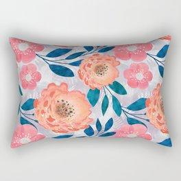 Pink, orange flowers on a light gray background. Rectangular Pillow