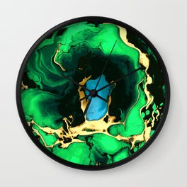 Gold green and black Marble texture acrylic paint art Wall Clock