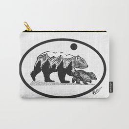 """Gentle Nudge"" Mama Bear & Cub by DarkMountainArts Carry-All Pouch"