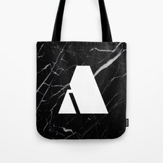 Black Marble - Alphabet A Tote Bag