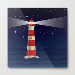 Cartoon landscape with lighthouse night sea and starry sky Metal Print