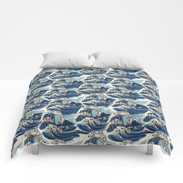 The Great Wave of Pug Pattern Comforters