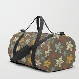 Retro Brown Blue Yellow Gold Polynesian Flowers Pattern Duffle Bag