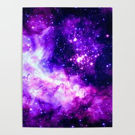 Purple Galaxy : Celestial Fireworks Poster