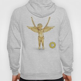 Gold Angel Pendant and Chain Trompe L'oeil YC Hoody