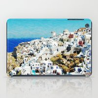 greece iPad Cases featuring Santorini, Greece  by Abby Gracey