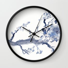 Paynes Grey Branch - Watercolor Wall Clock