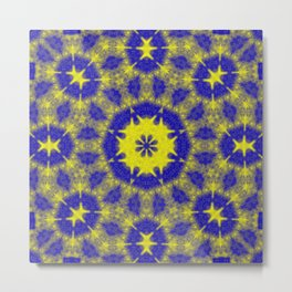 Vibrant mandala in blue and yellow Metal Print