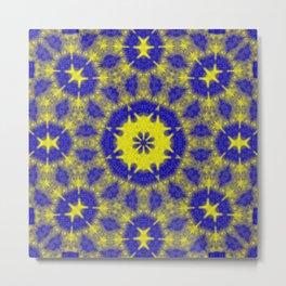 Vibrant mandala in blue and yellow Metal Print