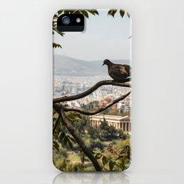 Bird Overlooking Temple of Hephaestus, Athens, Greece iPhone Case