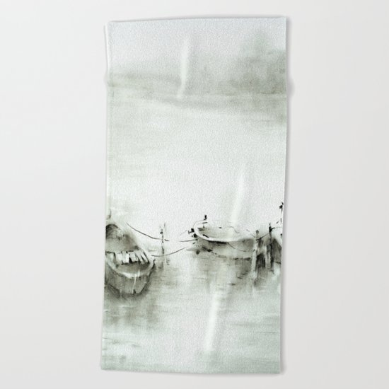boats on the river Beach Towel