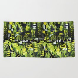 Northern Lights Abstract Painting Beach Towel