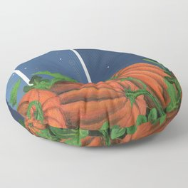Pumpkin Patch at Night on Blues Floor Pillow
