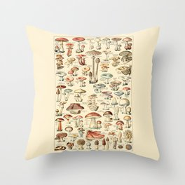 Trippy Vintage Mushroom Chart // Champignons by Adolphe Millot 19th Century Science Artwork Throw Pillow