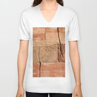 geology V-neck T-shirts featuring Ancient Sandstone Wall by Phil Smyth