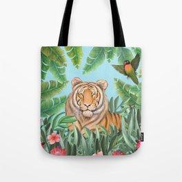 Tropical tiger jungle, tropical flowers Tote Bag