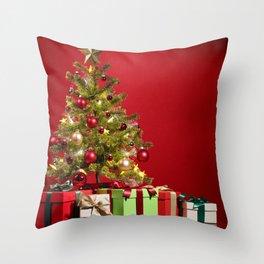 Christmas Photography - Christmas Tree With Presents Throw Pillow