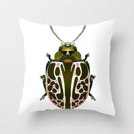 Green, White, Pink Beetle Throw Pillow