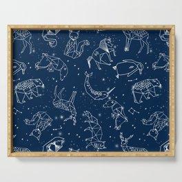 Origami Constellations - geometric animals constellations design - navy blue Serving Tray