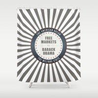 obama Shower Curtains featuring Free Markets Versus Obama by politics