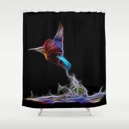 King Fisher Fractal Shower Curtain