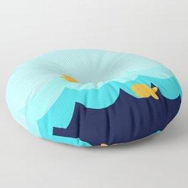 Beach Series Aqua- Gold Fish Animals in the deep Sea Floor Pillow
